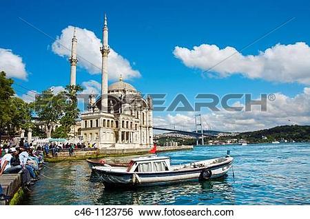 Stock Images of Ortakoy Mosque. Fatih Sultan Mehmet Bridge.