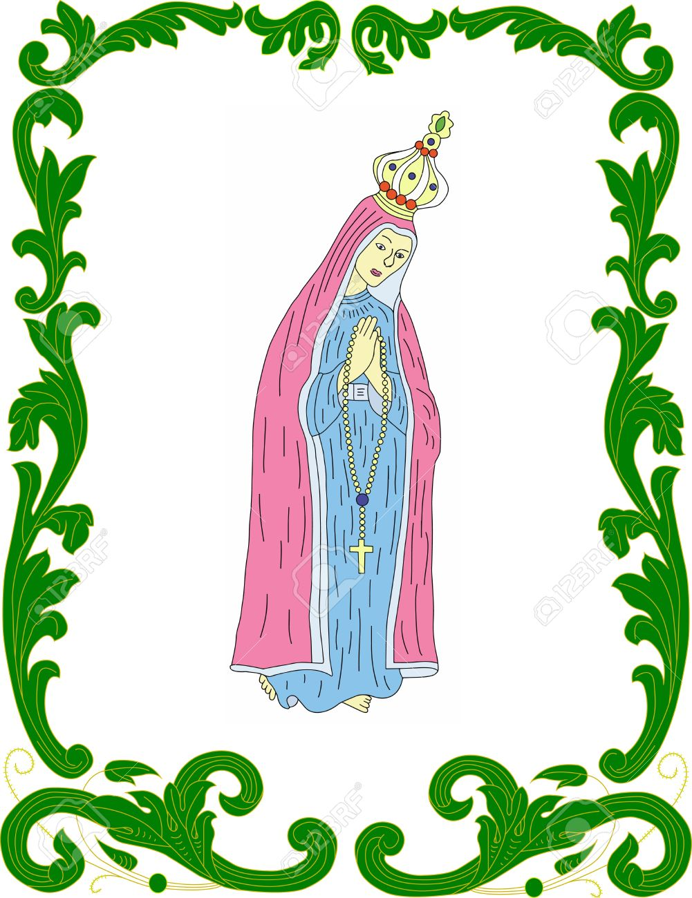 Our Lady Of Fatima In Stylistic Frame Royalty Free Cliparts.