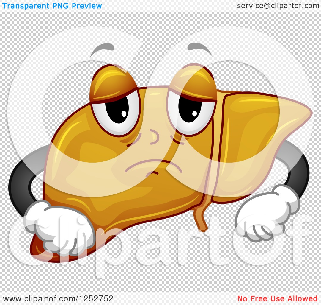 Clipart of a Fatty Liver Pouting.