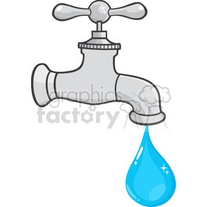 12878 RF Clipart Illustration Water Faucet With Water Drop clipart.  Royalty.