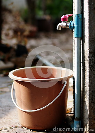 Water Full Plastic Bucket Stock Image.