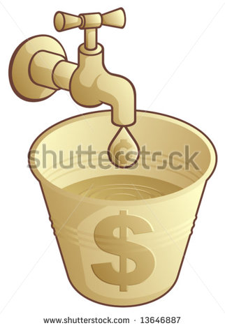 Leaking Bucket Stock Images, Royalty.
