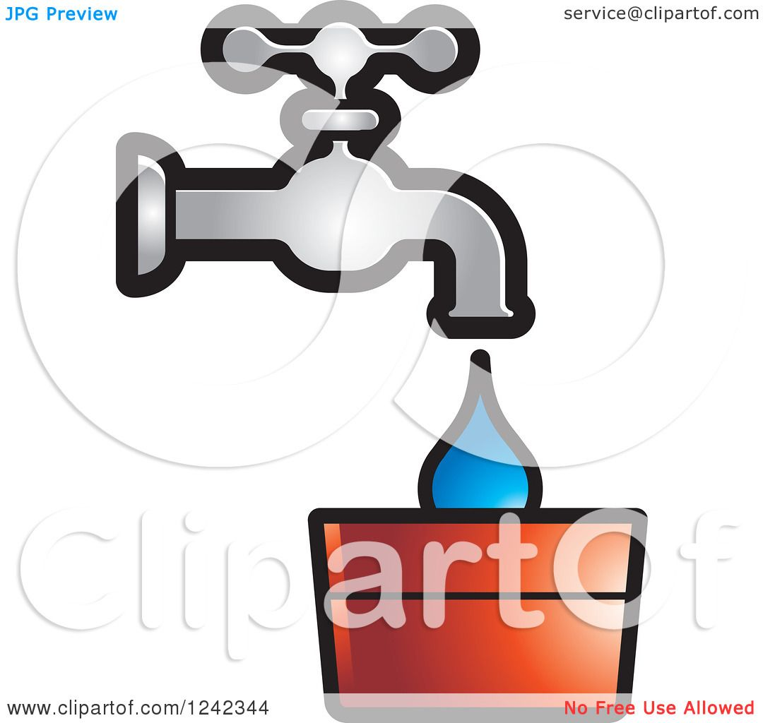 Clipart of a Leaky Water Faucet Spigot and Bucket.