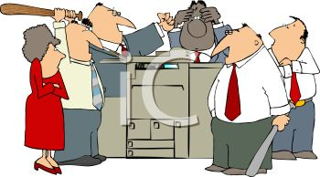 Group of Mad Office Workers Hitting a Faulty Copy Machine.