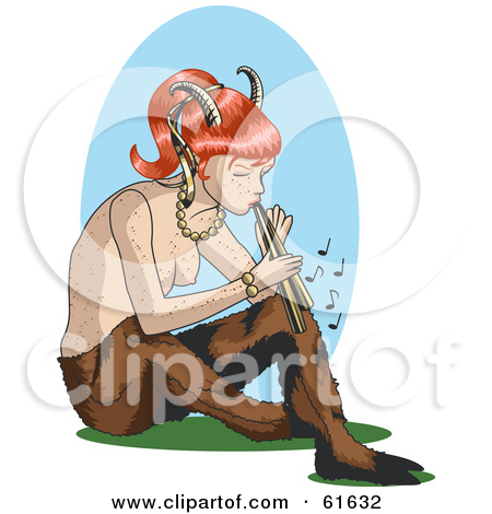Clipart of a Cartoon Pan Faun with Folded Arms in a Blue White and.