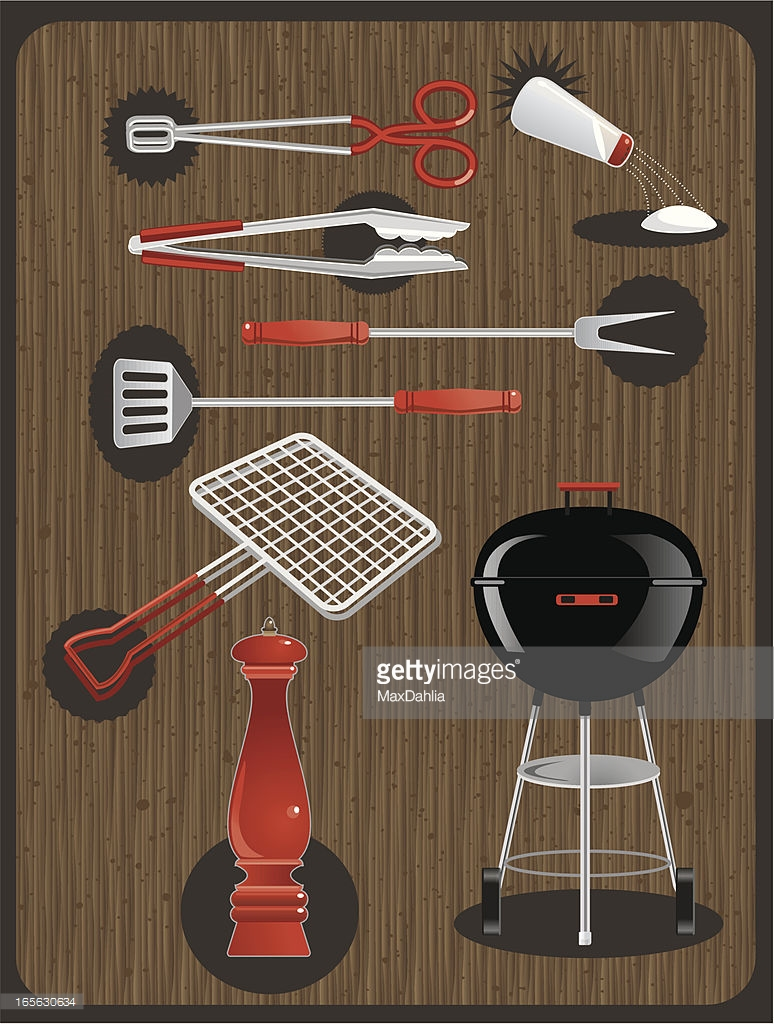 Barbecue Utensils And Grill Against Woodgrain Or Fauxbois Clipart.