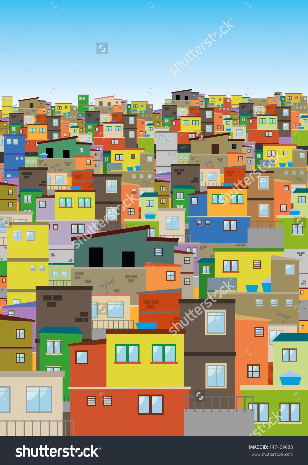 Rio De Janeiro Favela Illustration Stock Vector 147409688.