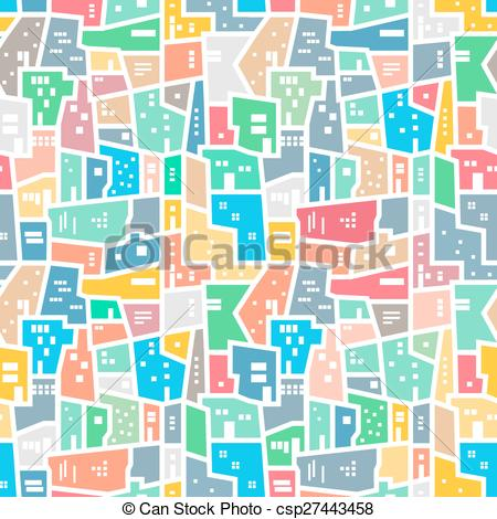 Clipart Vector of Brazilian favela. Bright colored seamless.