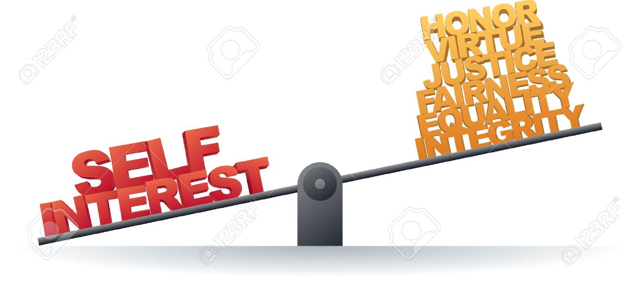 Scale Favoring Self Interest Rather Than Personal Values Royalty.