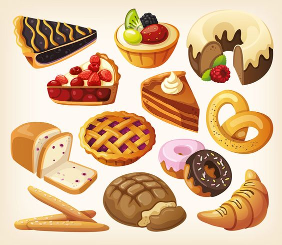 A collection of four beautiful vector food clip art sets with.