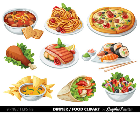 Food Clip art Food Clipart Spaghetti Pizza Sushi by GraphicPassion.
