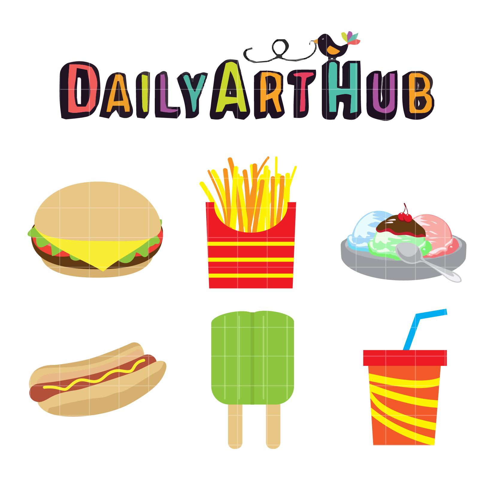 Kids Favorite Foods Clip Art Set.