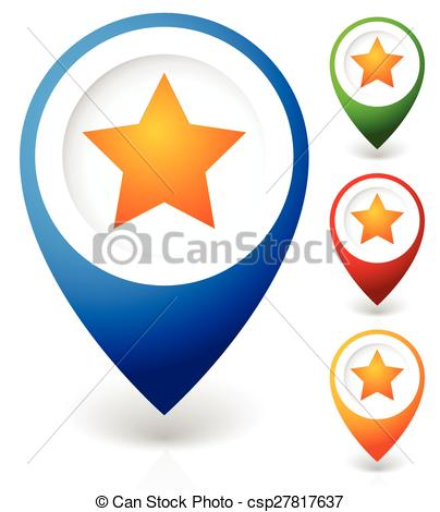 Vectors of Map marker with star. Favorite place, location. Vector.