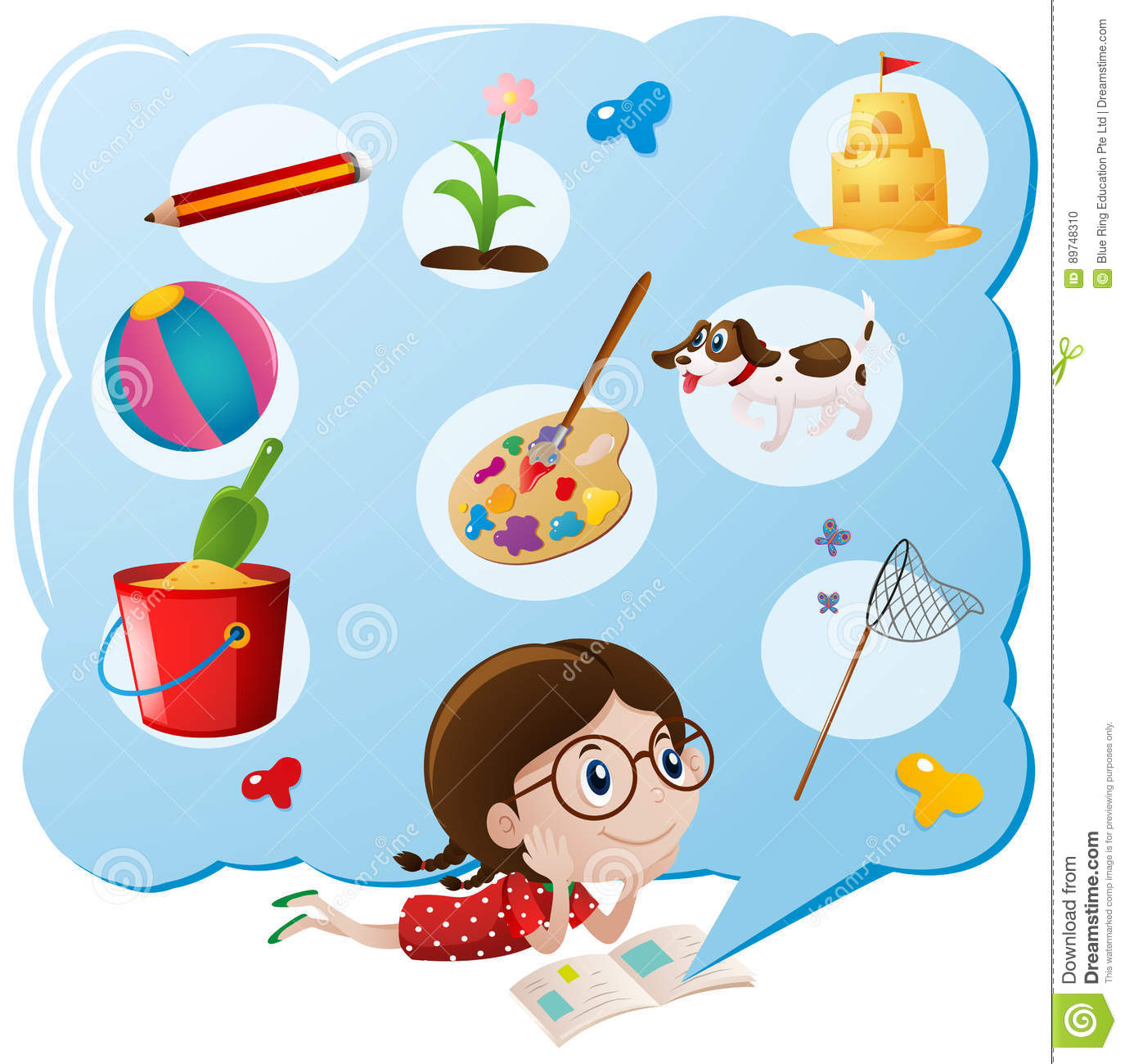 Girl Thinking Of Favorite Things Stock Vector.
