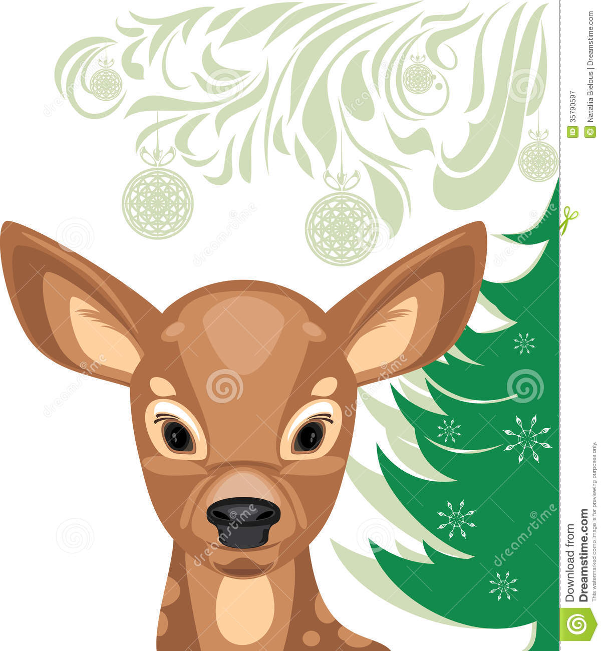 Fawn And Christmas Tree Royalty Free Stock Photography.