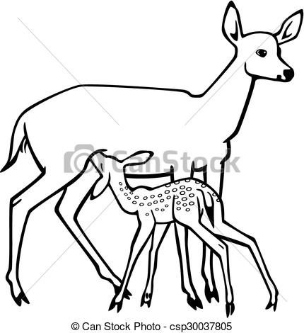 Fawn and mother deer clipart.
