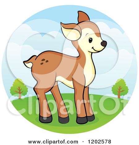 Cartoon of a Cute Deer Fawn on a Hill.