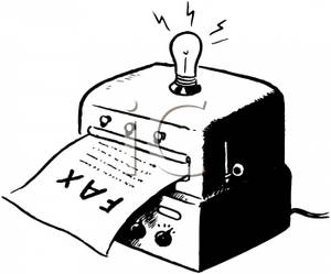 Old Fashioned Fax Machine with a Lightbulb Clip Art Image.