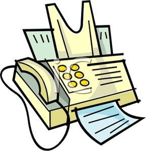Yellow Fax Machine Clip Art Image.
