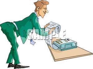 Man Receiving a Fax Clip Art Image.