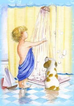 ART~ Little Boy By The Seashore With His Dog ~ Faye Whittaker.