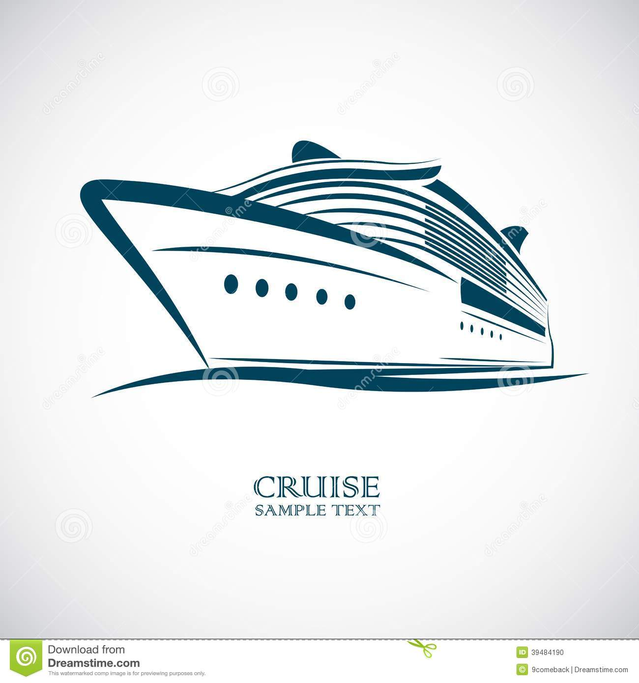 Cruise Ship Silhouette Clipart.