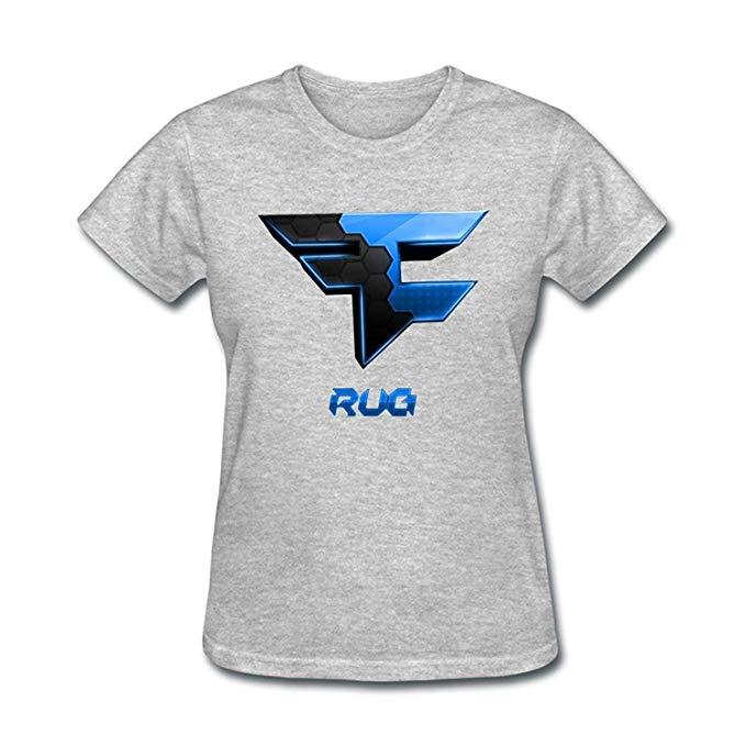 Amazon.com: Zeesaa Women\'s Grey Cotton Faze Rug Logo T Shirt.
