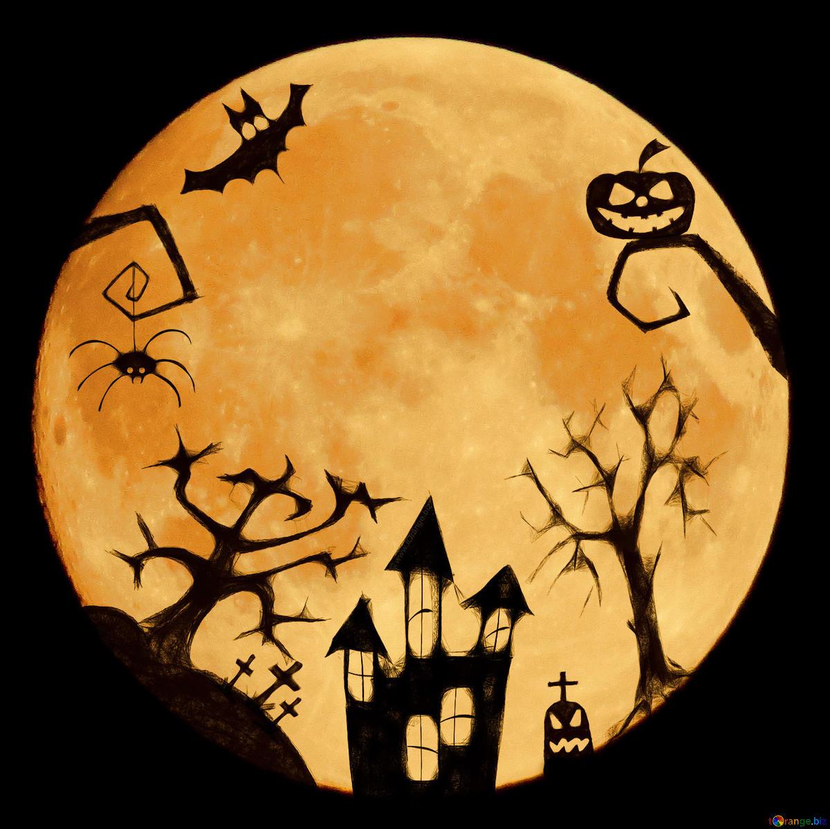 Baixar foto grátis Halloween clipart with moon na licença do.
