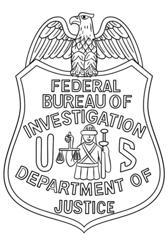 FBI Badge coloring page.