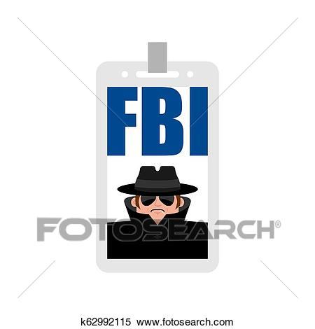 Fbi badge isolated. Federal Bureau of Investigation sign Clipart.