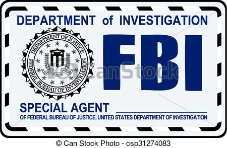 Vector of FBI Special Agent certificate. US Secret Service.