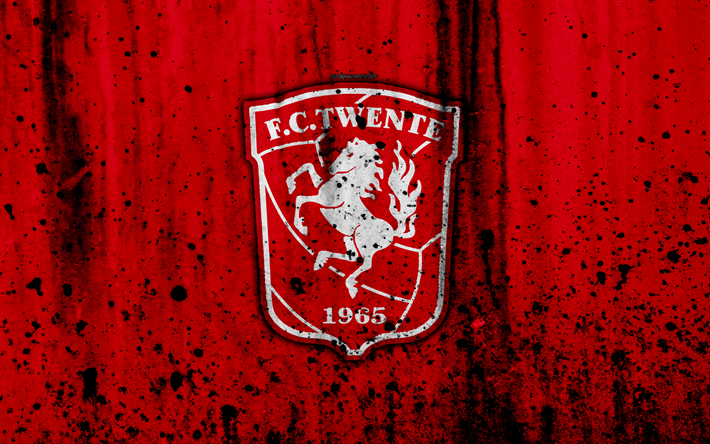 Download wallpapers FC Twente, 4k, Eredivisie, grunge, logo, soccer.