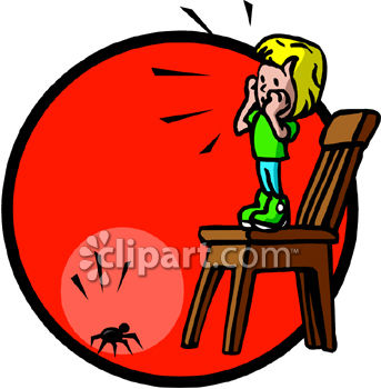 Royalty Free Clip Art Image: Scared Little Girl Standing on a.