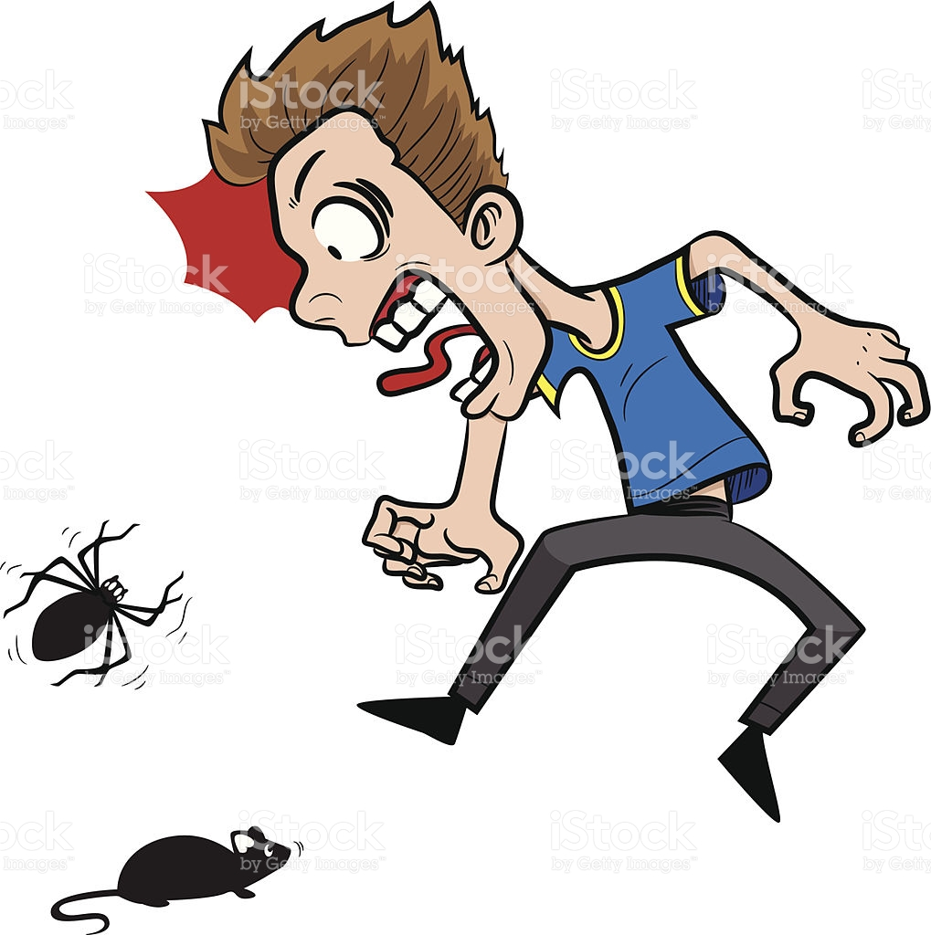 Guy Scared Of Mouse And Spider stock vector art 509560675.