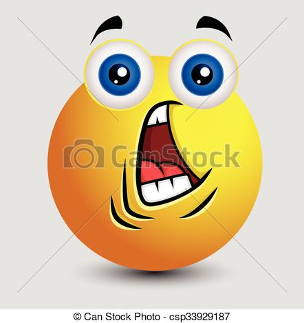 Vector of Fearful Face Emoji Character Expression Vector.