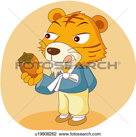 Clipart of funny, tiger, excitement, children`s story, fearful.