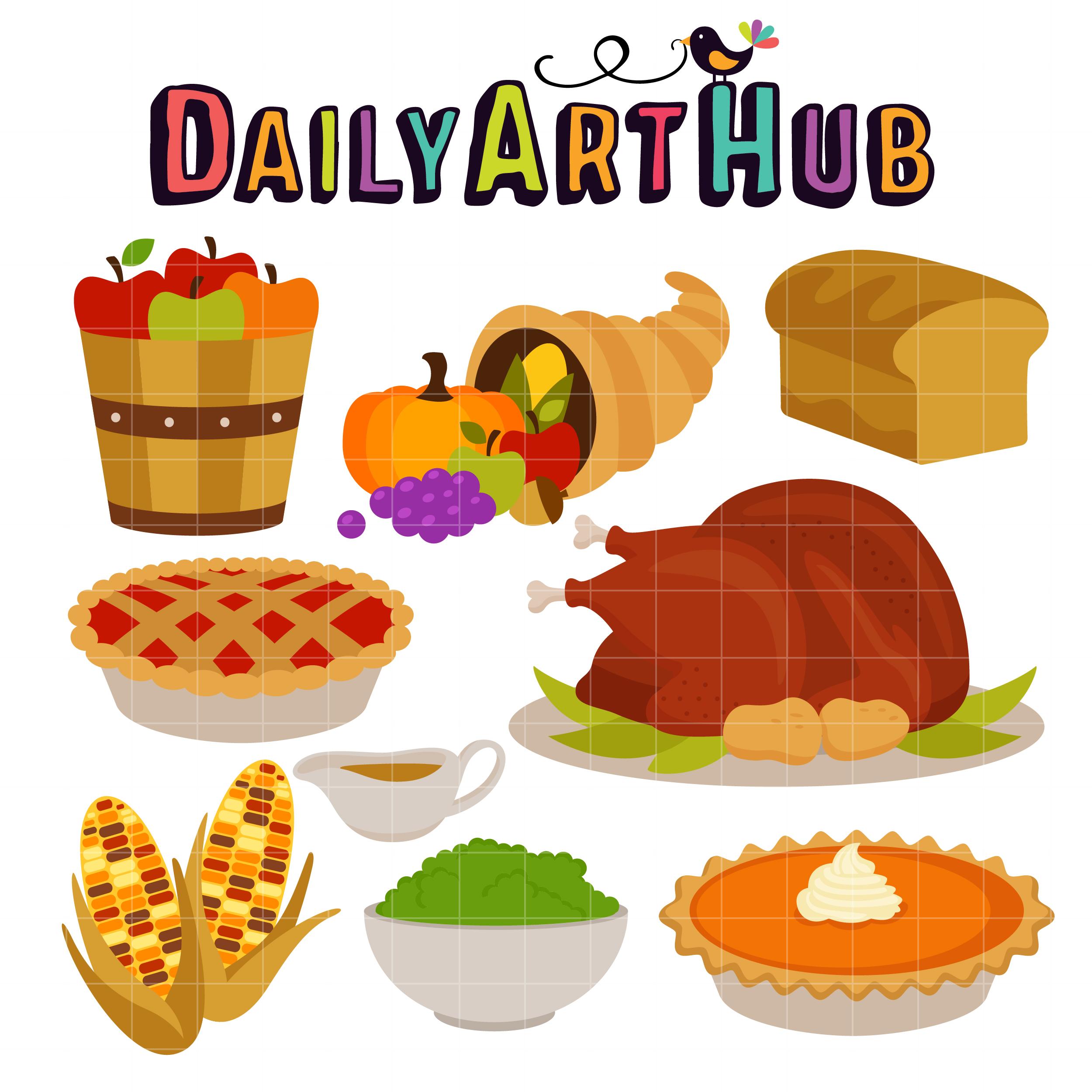 Thanksgiving Feast Clip Art Set.
