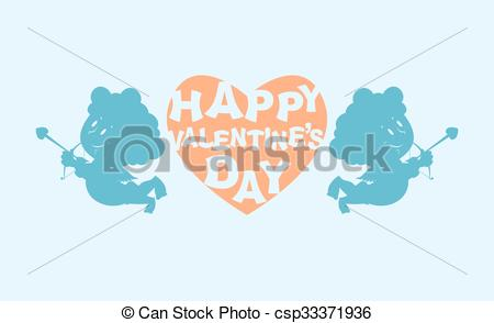 Vectors of Happy Valentines day. Heart and kupiony. Little angels.