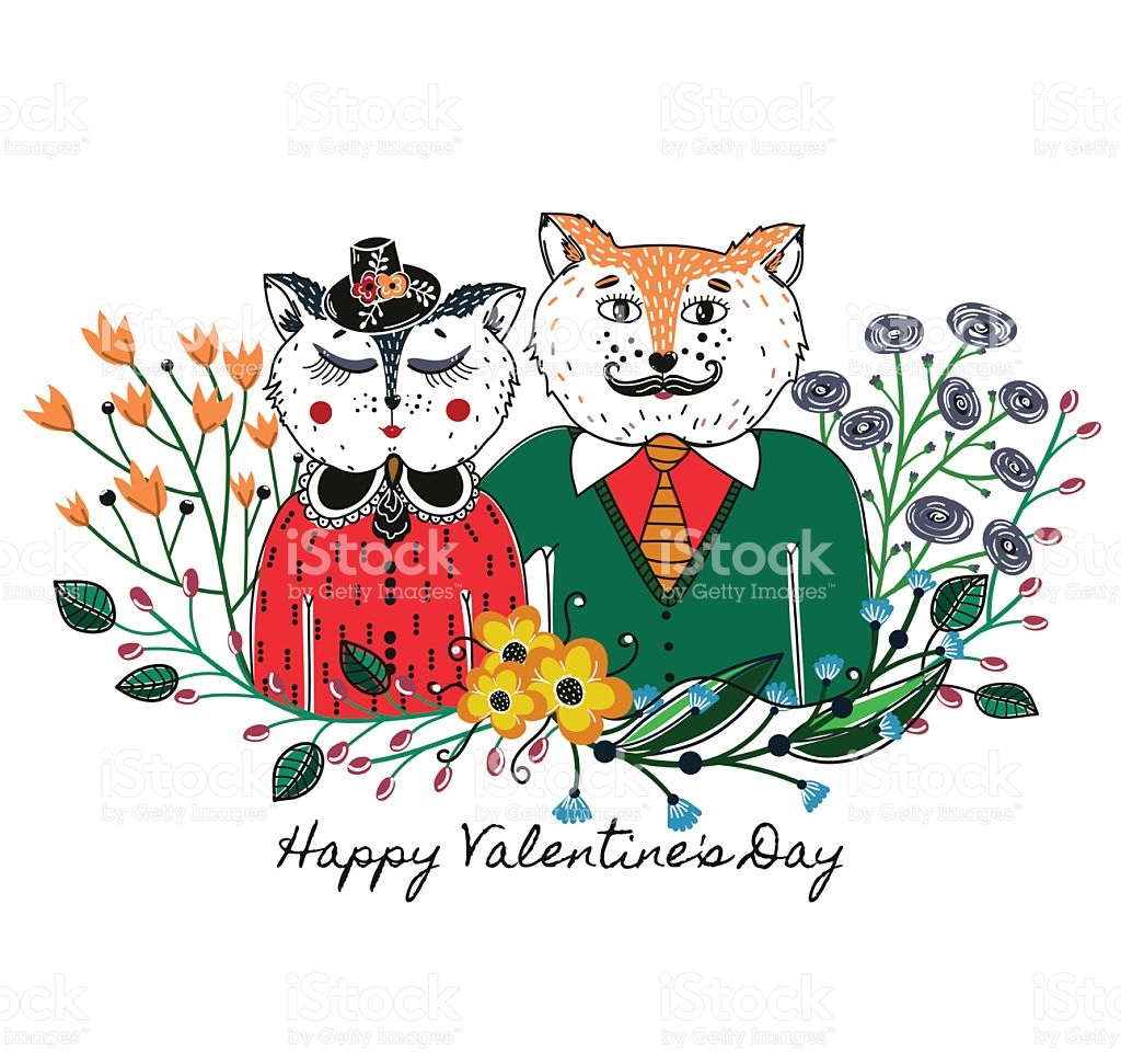 Enamoured Cats Greeting Background On Valentines Day Feast Of Love.