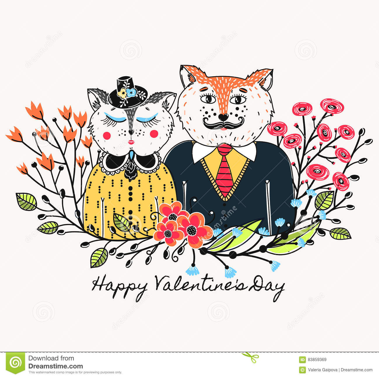Enamoured Cats. Greeting Background On Valentine`s Day. Feast Of.