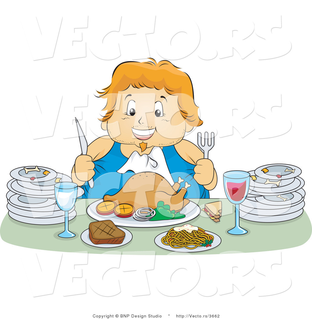 Vector of Happy Overweight Girl Feasting on a Turkey Meal, with.