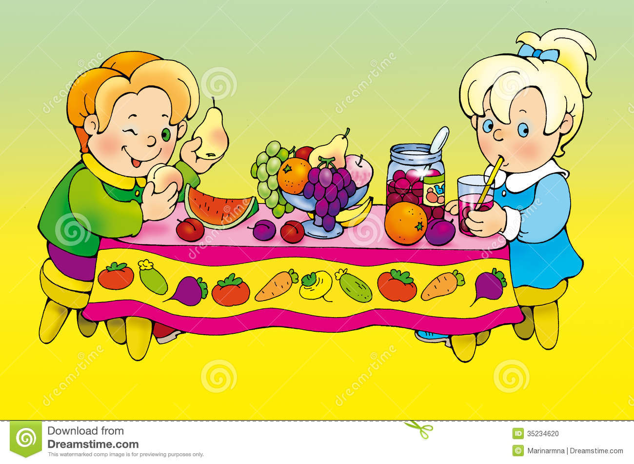 Boy And Girl Feasting At The Table Stock Photo.