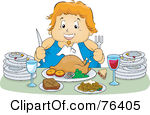 Clipart of a Table with a Roasted Turkey and Potluck Foods Under.