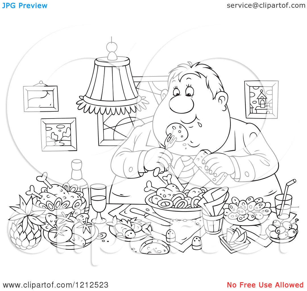 Cartoon of an Outlined Gluttonous Obese Man Eating a Feast.