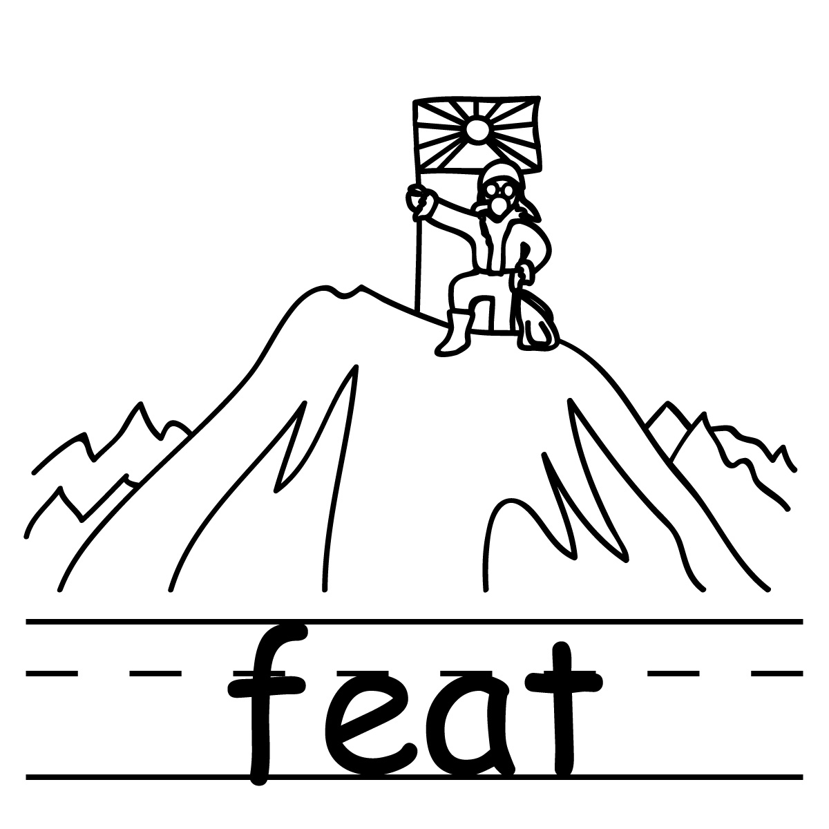 Clip Art: Basic Words: Fork (coloring page).
