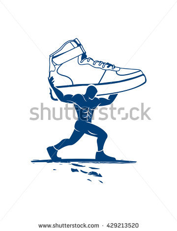 Businessman Running Retro Clipart Illustration Stock Vector.