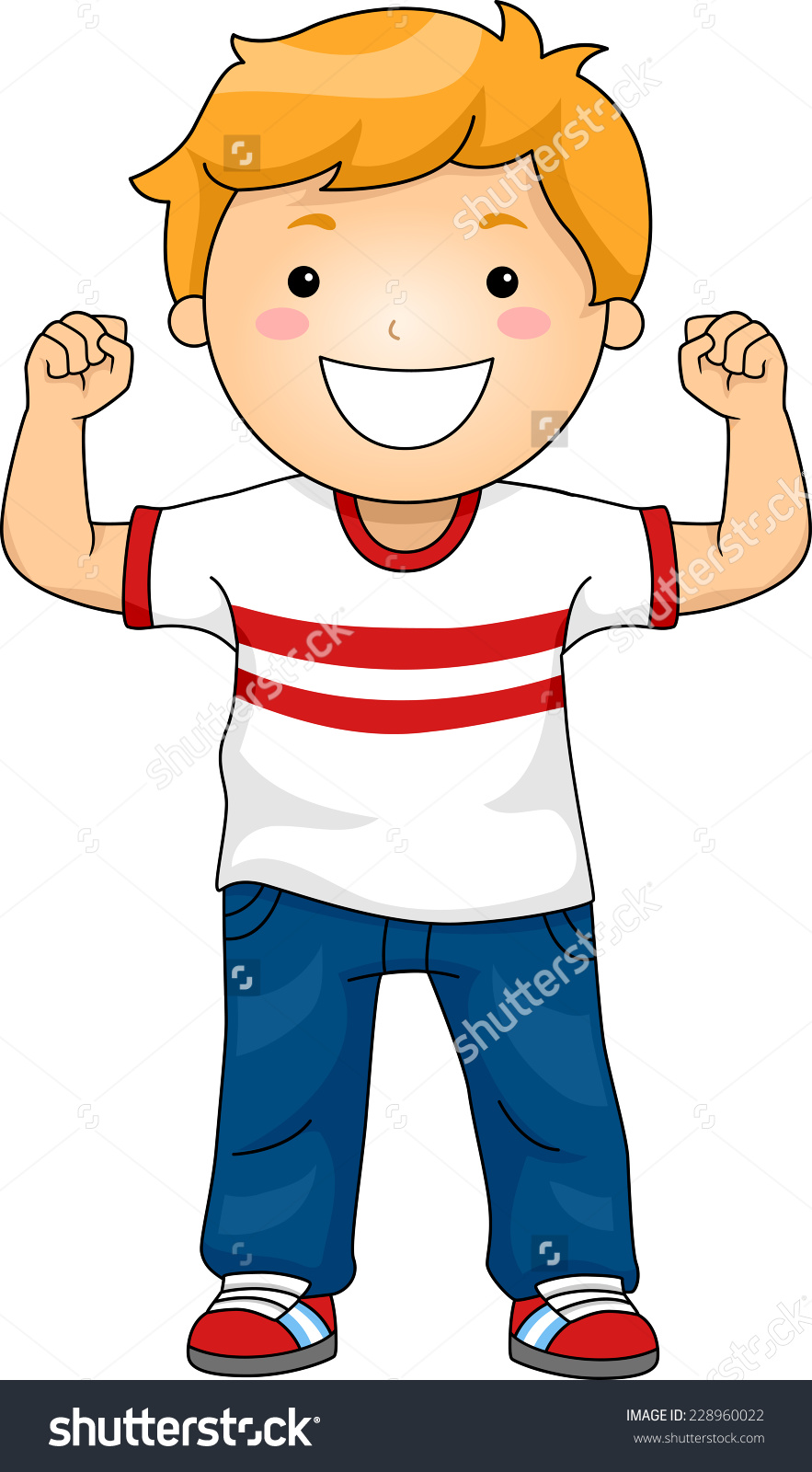 Illustration Featuring A Boy Flexing His Muscles To Demonstrate.