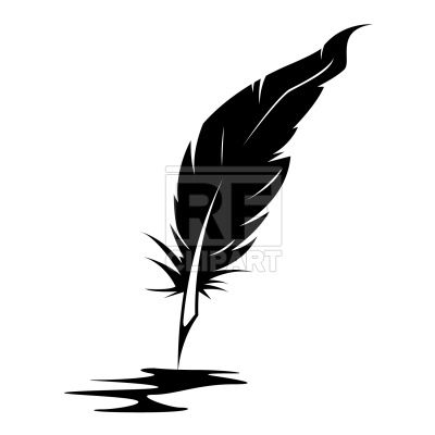 Feather and ink blot Stock Vector Image.