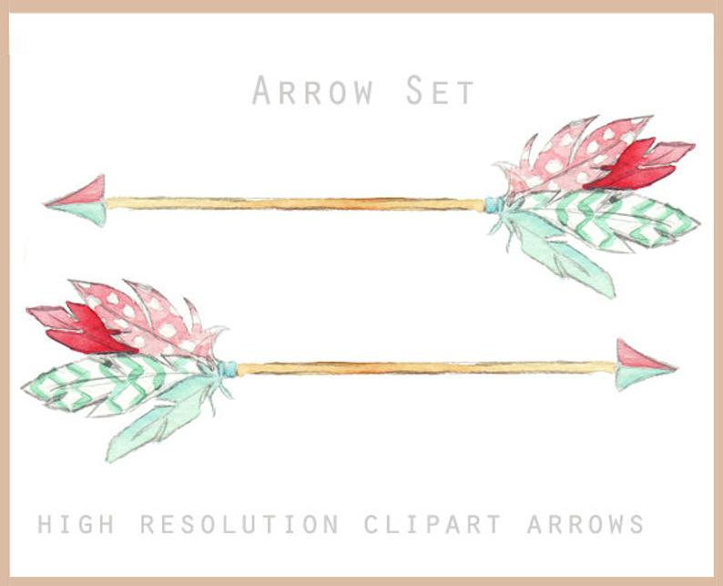 Feather Arrow Clipart Set.