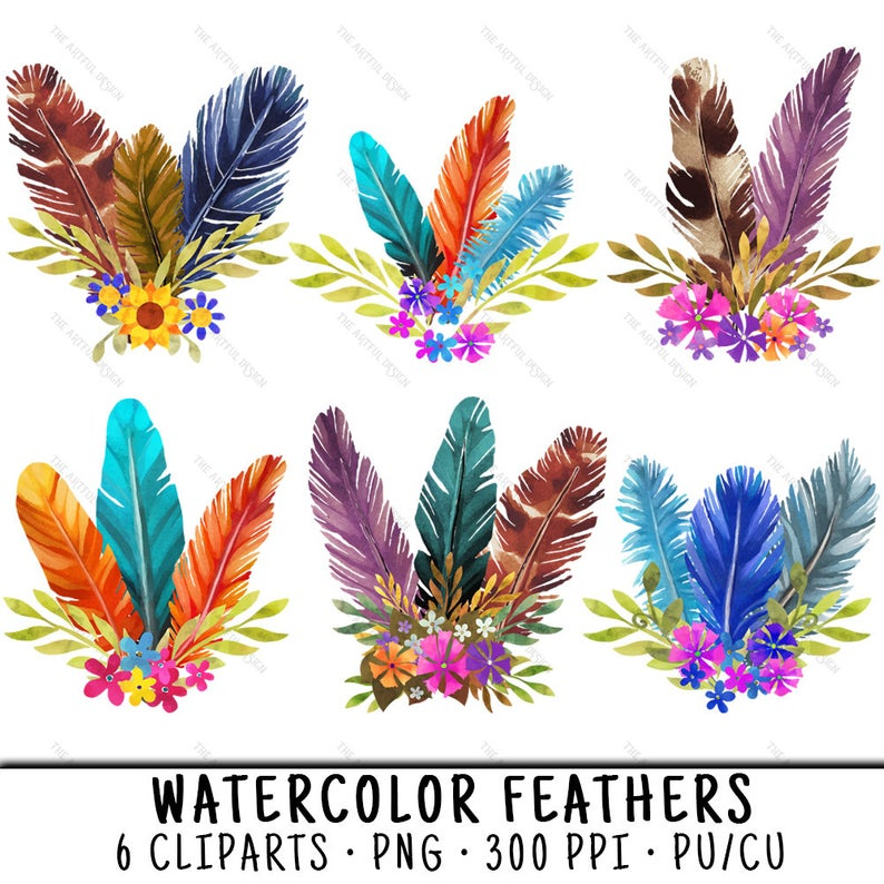 Watercolor Feathers, Feather Clipart, Feather Clip Art, Floral Feathers  PNG, PNG Floral Feathers, Feathers PNG Floral, Watercolor Clipart.